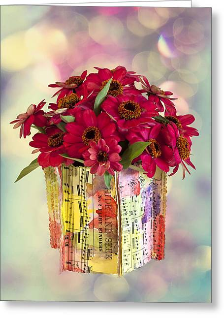 Greeting Card featuring the photograph Hide And Seek Zinnias by Sandra Foster