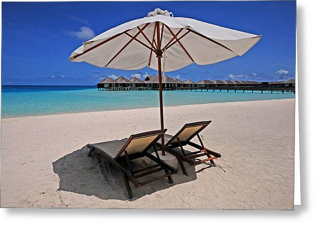 Hideaway Under The Tropical Sun. Maldives Greeting Card by Jenny Rainbow