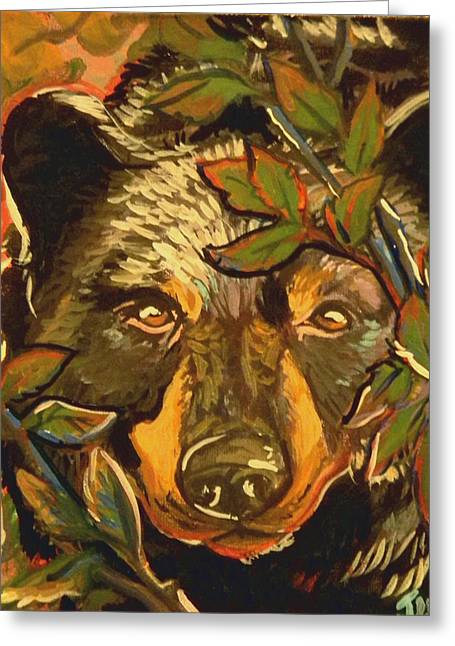 Hiding Bear Greeting Card by Jenn Cunningham