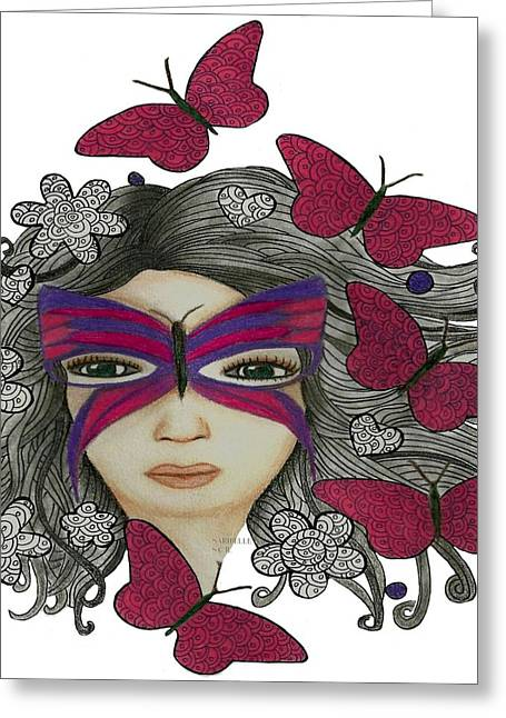 Hiding Me Pencil Drawing By Saribelle Rodriguez Greeting Card