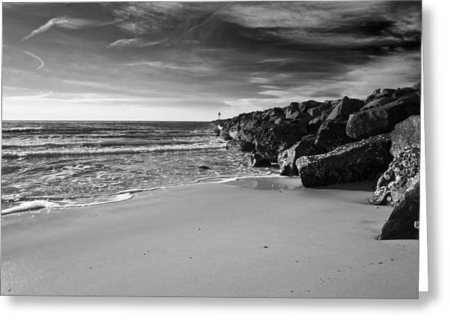 Higbee Beach B/w Greeting Card by Jennifer Ancker