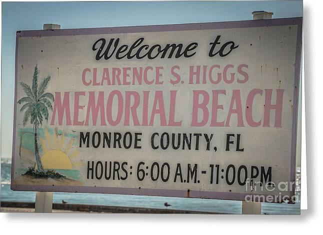 Higgs Beach Sign Closeup - Key West - Hdr Style Greeting Card