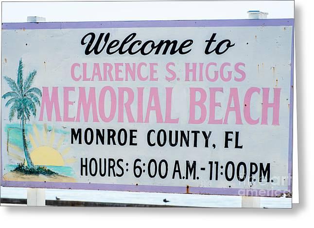 Higgs Beach Sign Closeup - Key West Greeting Card