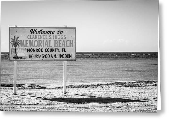 Higgs Beach Sign - Key West - Black And White Greeting Card