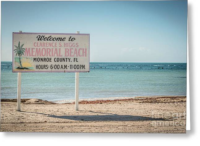 Higgs Beach Sign - Key West - Hdr Style Greeting Card