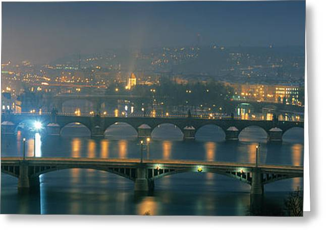 High Angle View Of A Bridge At Dusk Greeting Card by Panoramic Images