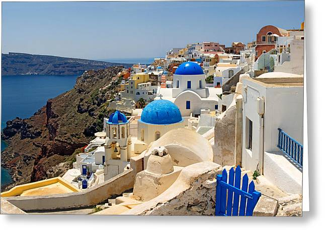 High Angle View Of A Church, Oia Greeting Card