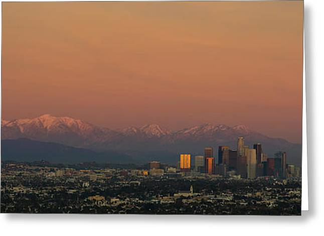 High Angle View Of A City At Dusk, Los Greeting Card by Panoramic Images