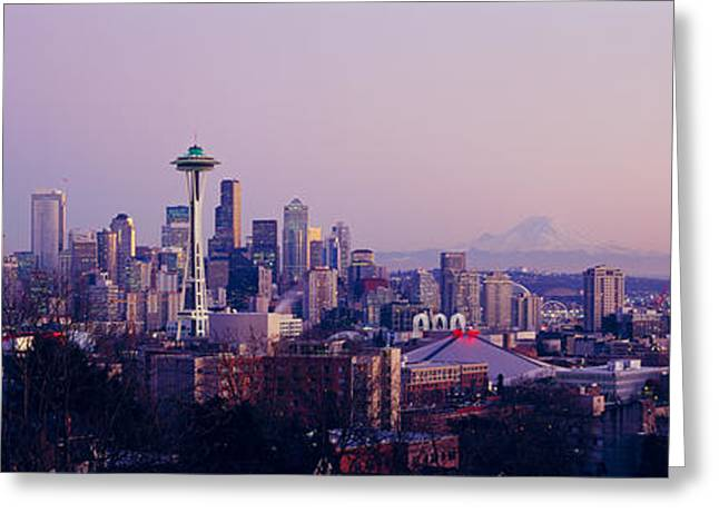 High Angle View Of A City At Sunrise Greeting Card