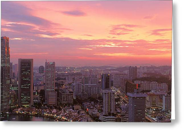 High Angle View Of A City At Sunset Greeting Card