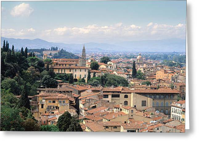 High Angle View Of A City, Florence Greeting Card by Panoramic Images