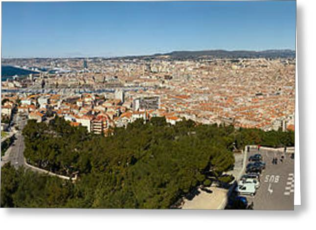 High Angle View Of A City, Marseille Greeting Card by Panoramic Images