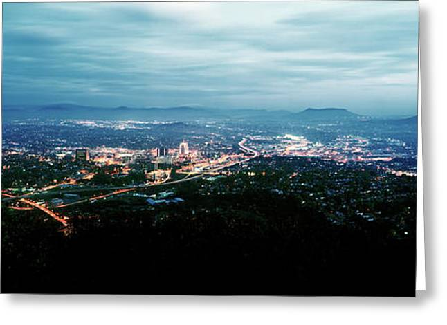 High Angle View Of A City, Roanoke Greeting Card