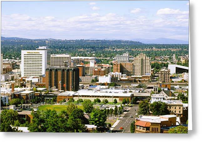 High Angle View Of A City, Spokane Greeting Card by Panoramic Images