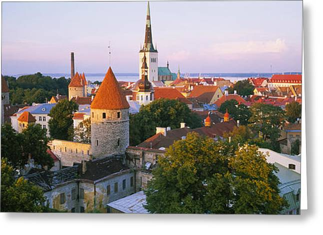 High Angle View Of A City, Tallinn Greeting Card by Panoramic Images