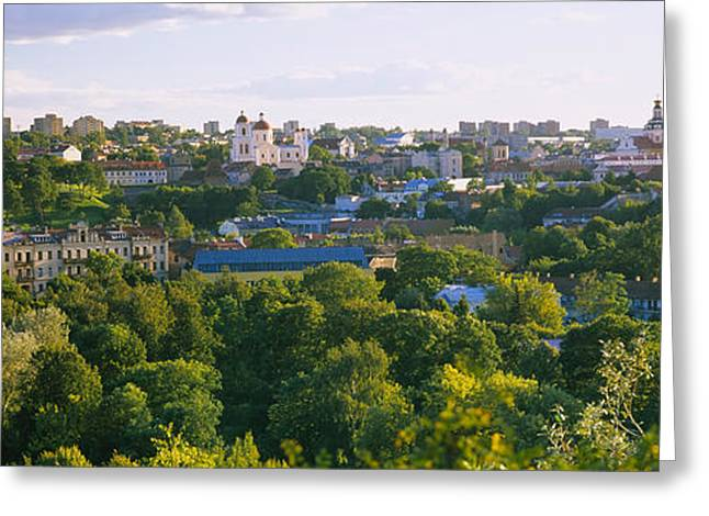 High Angle View Of A City, Vilnius Greeting Card