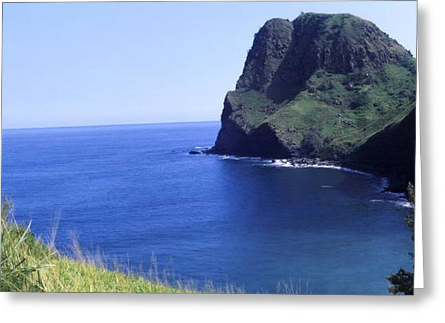 High Angle View Of A Coast, Kahakuloa Greeting Card