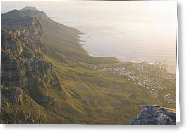 High Angle View Of A Coastline, Camps Greeting Card by Panoramic Images
