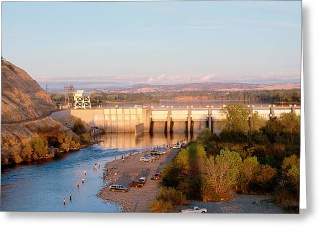 High Angle View Of A Dam On A River Greeting Card by Panoramic Images