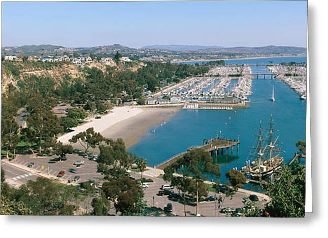 High Angle View Of A Harbor, Dana Point Greeting Card