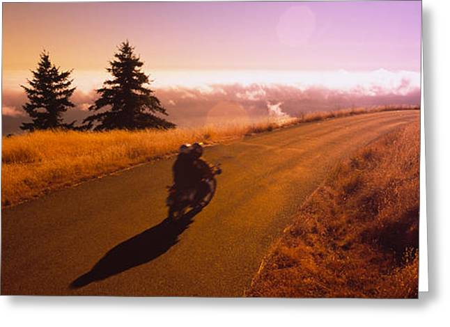 High Angle View Of A Motorcycle Moving Greeting Card by Panoramic Images