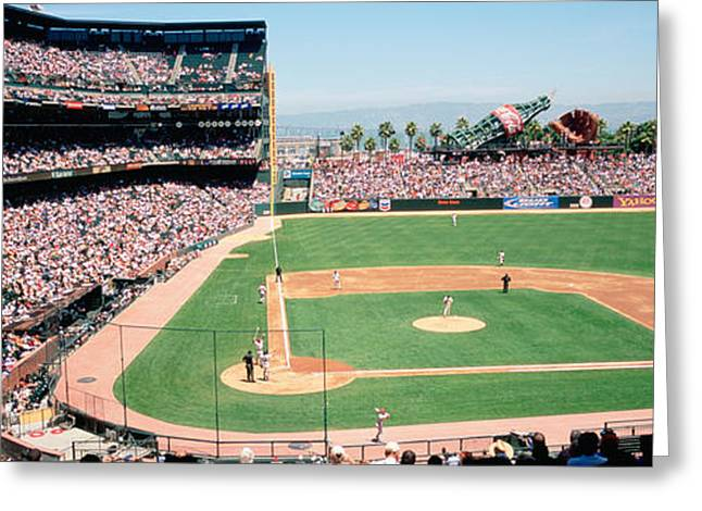 High Angle View Of A Stadium, Pac Bell Greeting Card by Panoramic Images