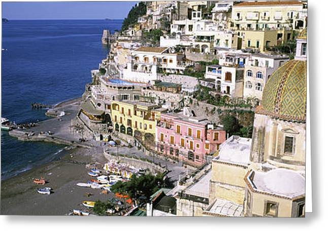 High Angle View Of A Town, Positano Greeting Card by Panoramic Images