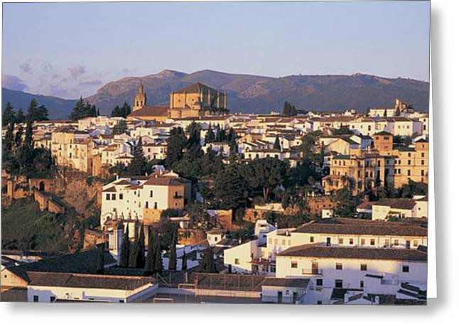 High Angle View Of A Town, Ronda Greeting Card
