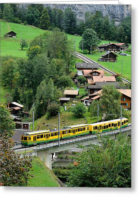 High Angle View Of A Train From Wengen Greeting Card by Panoramic Images