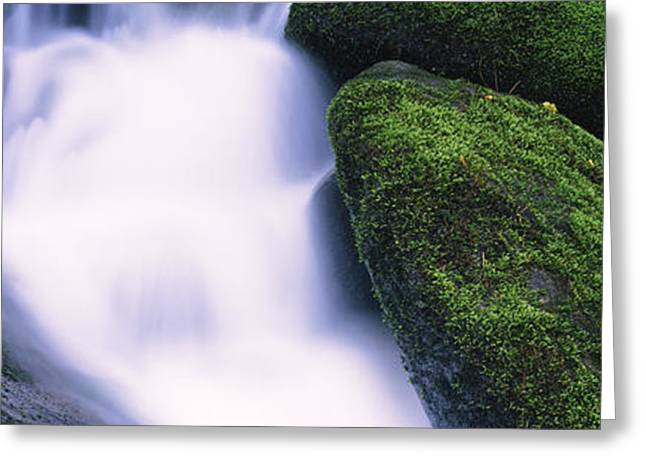 High Angle View Of A Waterfall, Roaring Greeting Card