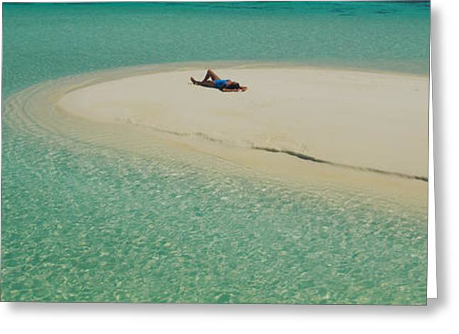 High Angle View Of A Woman Sunbathing Greeting Card by Panoramic Images