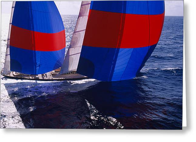 High Angle View Of A Yacht In The Sea Greeting Card