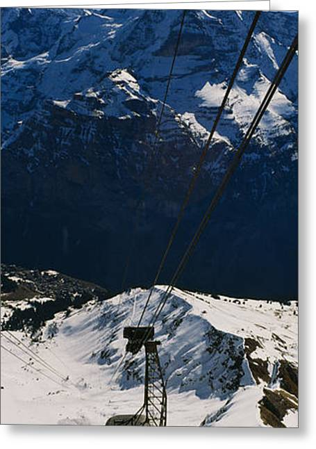 High Angle View Of An Overhead Cable Greeting Card by Panoramic Images