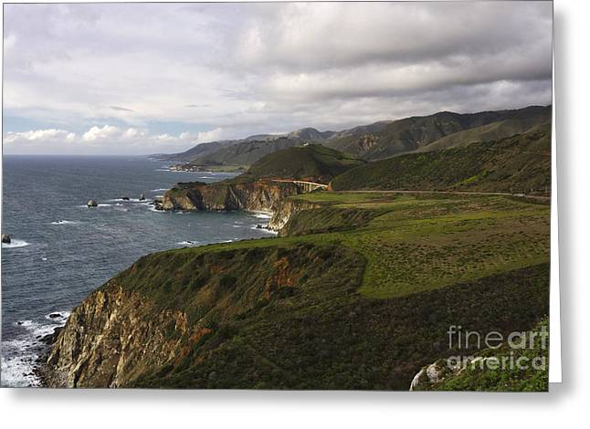 High Angle View Of  Big Sur Coast At Big Creek Greeting Card by George Oze