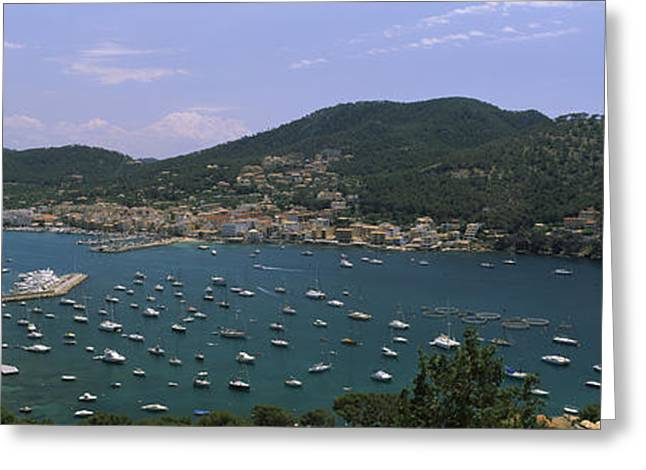 High Angle View Of Boats At A Port Greeting Card