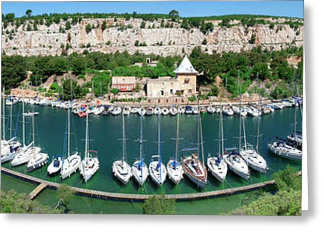 High Angle View Of Boats At Marina Greeting Card by Panoramic Images