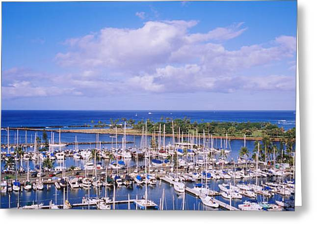 High Angle View Of Boats In A Row, Ala Greeting Card by Panoramic Images