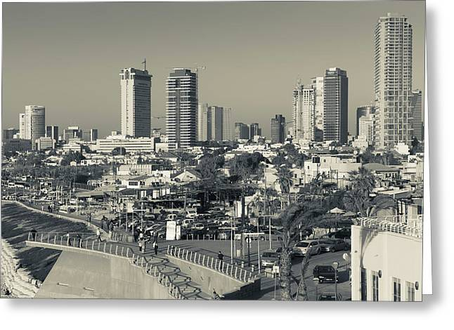 High Angle View Of City, Jaffa, Tel Greeting Card