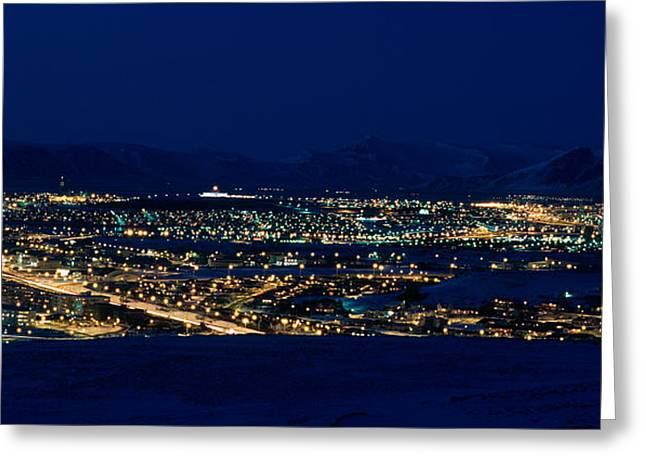 High Angle View Of City Lit Greeting Card by Panoramic Images