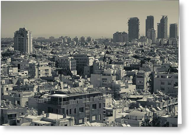 High Angle View Of City, Tel Aviv Greeting Card