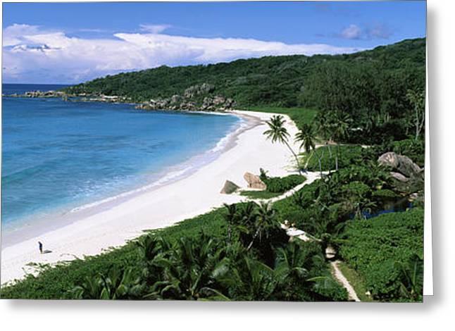 High Angle View Of Grand Anse Beach, La Greeting Card