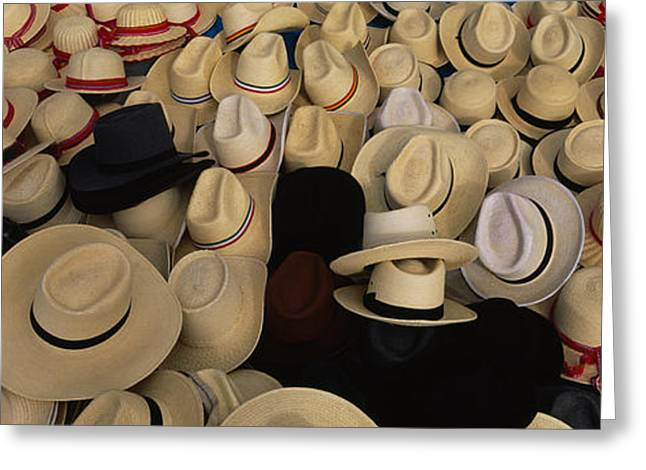 High Angle View Of Hats In A Market Greeting Card by Panoramic Images