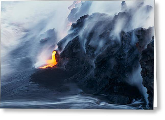 High Angle View Of Lava Flowing Greeting Card by Panoramic Images
