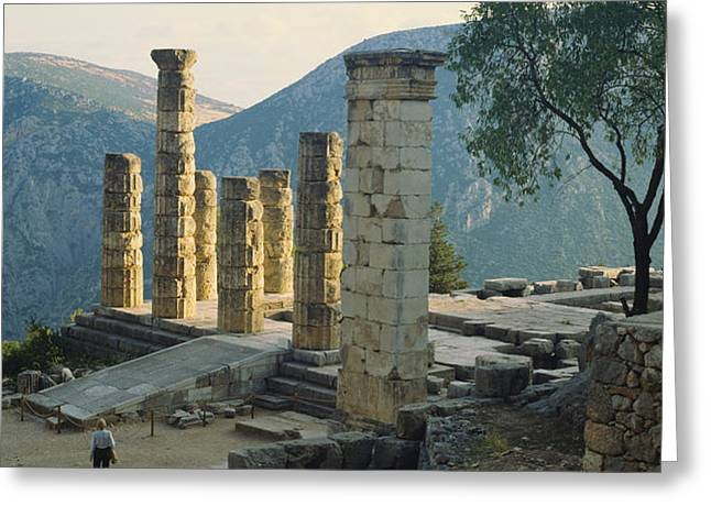High Angle View Of Ruined Columns Greeting Card