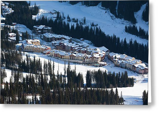 High Angle View Of Sun Peaks Resort Greeting Card