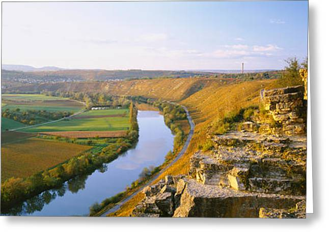 High Angle View Of Vineyards Greeting Card by Panoramic Images