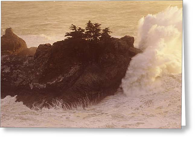 High Angle View Of Waves Breaking Greeting Card by Panoramic Images