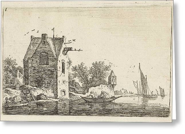 High Building On The Waterfront, Anthonie Waterloo Greeting Card by Anthonie Waterloo