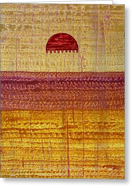 High Desert Horizon Original Painting Greeting Card by Sol Luckman
