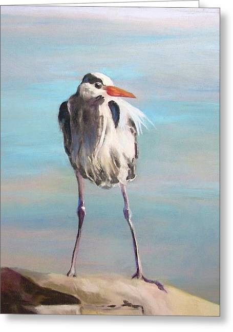 High Falls Heron Greeting Card by Debbie Anderson